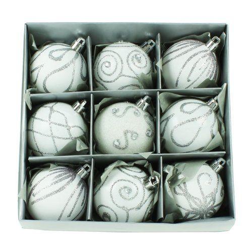9 bolas de navidad blancas